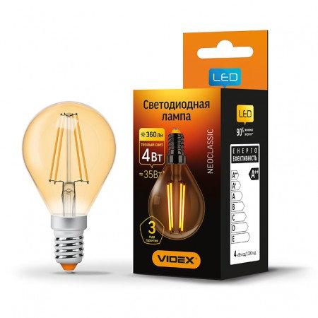 LED лампа VIDEX Filament G45FA 4W E14 2200K 220V VL-G45FA-04142