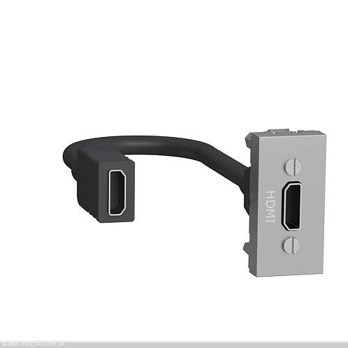 NU343030 Розетка HDMI, 1 модуль алюміній