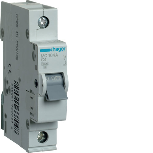 Автоматичний вимикач 1P 6kA C-4A 1M