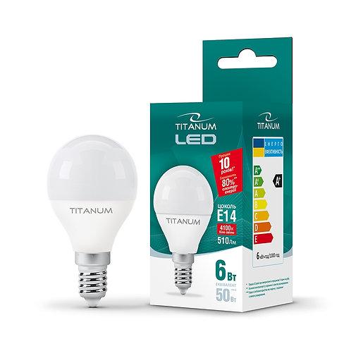 LED лампа TITANUM G45 6W E14 4100K 220V 50шт/ящ TLG4506144