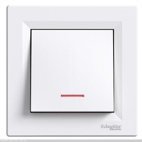 EPH1600121 Кнопочный выключатель, с подсветкой, самозажимные, БЕЛЫЙ ASFORA