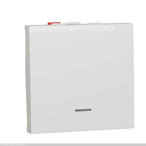NU320318S Перемикач 1-клавішний з нейтраллю 10А, 2 модуля білий