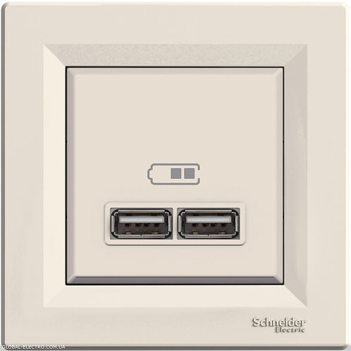 EPH2700223 USB РОЗЕТКА 2,1A КРЕМ ASFORA