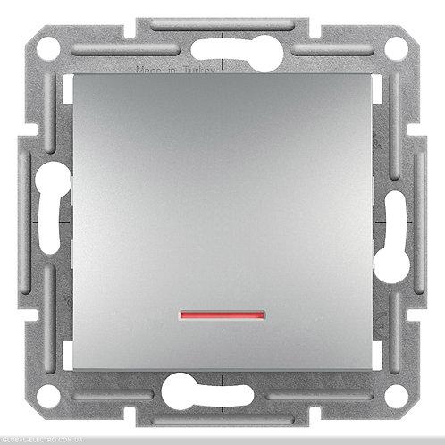 EPH1400161 Выключатель 1-клавишный с подсветкой ASFORA АЛЮМИНИЙ