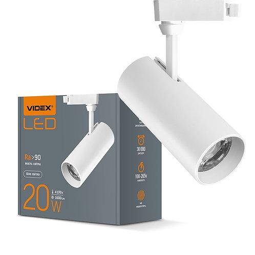 LED светильник трековый VIDEX 20W 4100K 220V белый 20шт/ящ VL-TR04-204W