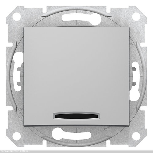 SDN1600160 Кнопочный выключатель SEDNA С синей подсветкой АЛЮМИНИЙ
