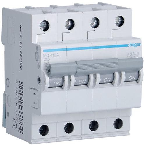Автоматичний вимикач 4P 6kA C-16A 4M