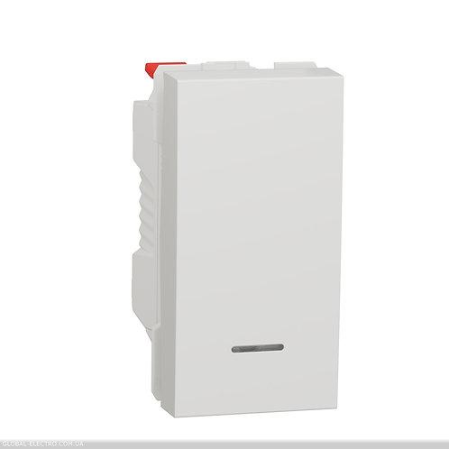 NU310618N Вимикач 1-клавішний кнопковий з підсвіткою  10А, 1 модуль білий