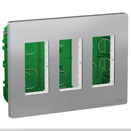 NU173430 Блок unica system+ прихована вставка 3х2 алюміній