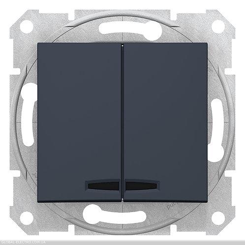 SDN0300370 Двухклавишный Выключатель с подсветкой SEDNA ГРАФИТ
