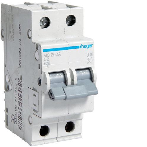 Автоматичний вимикач 2P 6kA C-2A 2M