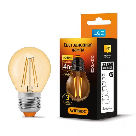 LED лампа VIDEX Filament G45FA 4W E27 2200K 220V VL-G45FA-04272