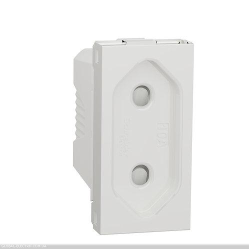 NU303118 Розетка без з/к, зі шторками, 16А гвинтові зажими, 1 модуль білий