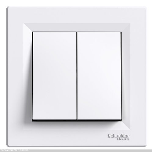 EPH1100121 Двухклавишный кнопочный выключатель, самозажимные, БЕЛЫЙ ASFORA