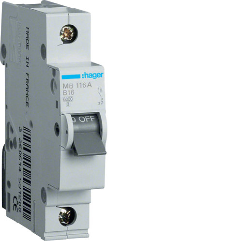 Автоматичний вимикач 1P 6kA B-16A 1M