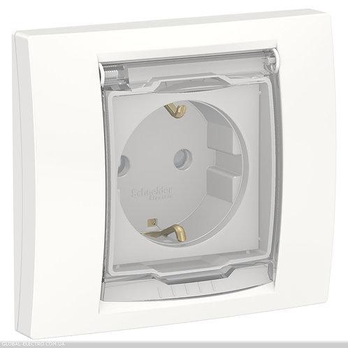 NU003718 Розетка з з/к, шторками прозорою кришкою IP44, білий