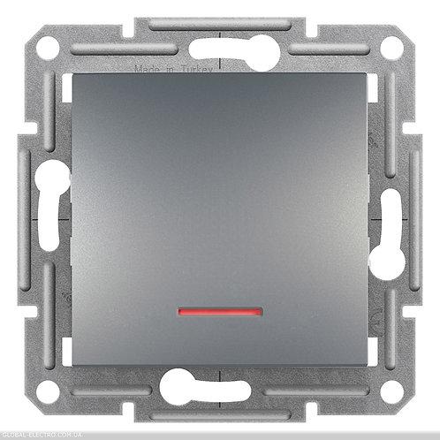 EPH1500162 ПЕРЕКЛЮЧАТЕЛЬ одноклавишный с подсветкой, самозажимные, ASFORA СТАЛЬ