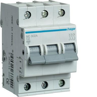 Автоматичний вимикач 3P 6kA C-2A 3M