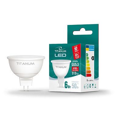 LED лампа TITANUM MR16 6W GU5.3 4100K 220V 50шт/ящ TLMR1606534