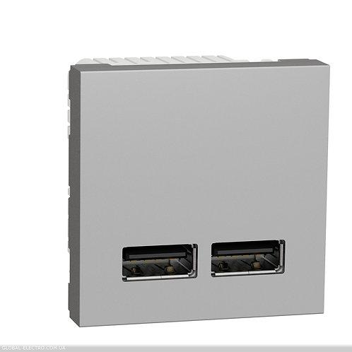 NU341830 Розетка USB подвійна 2.1А 2 модуля алюміній