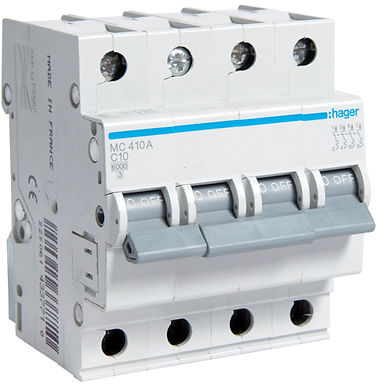 Автоматичний вимикач 4P 6kA C-10A 4M
