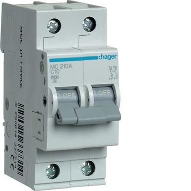Автоматичний вимикач 2P 6kA C-10A 2M