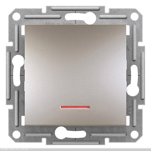EPH1400169 Выключатель одноклавишный, с подсветкой, самозажимные, ASFORA БРОНЗА