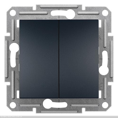 EPH0300171 Выключатель двухклавишный самозажимные ASFORA АНТРАЦИТ