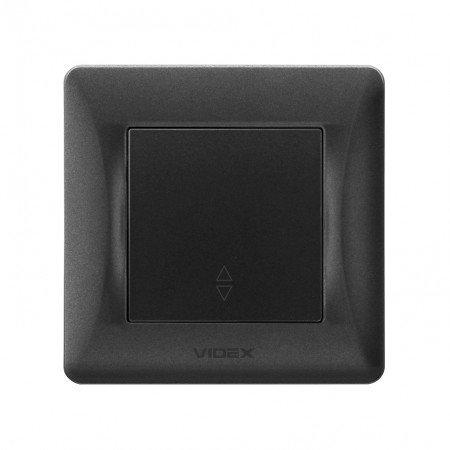 VIDEX BINERA Выключатель 1кл проходной черный графит (VF-BNSW1P-BG) (20/120)