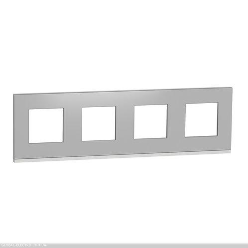 NU600880 Рамка 4-постова, горизонтальна, алюміній матовий/білий