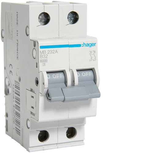 Автоматичний вимикач 2P 6kA B-32A 2M