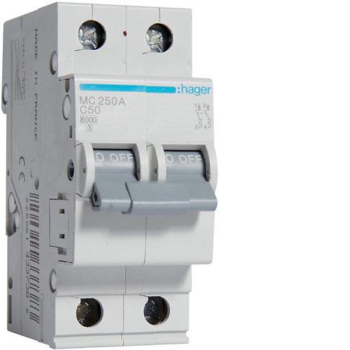 Автоматичний вимикач 2P 6kA C-50A 2M