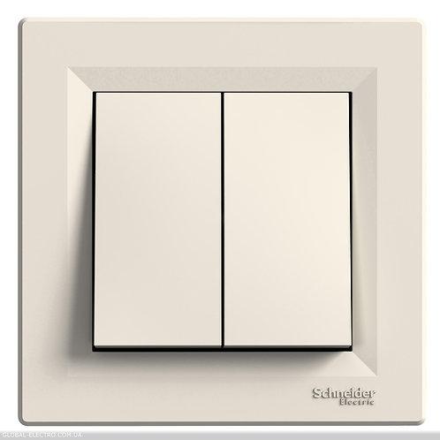 EPH1100123 Двухклавишный кнопочный выключатель, самозажимные, КРЕМ ASFORA