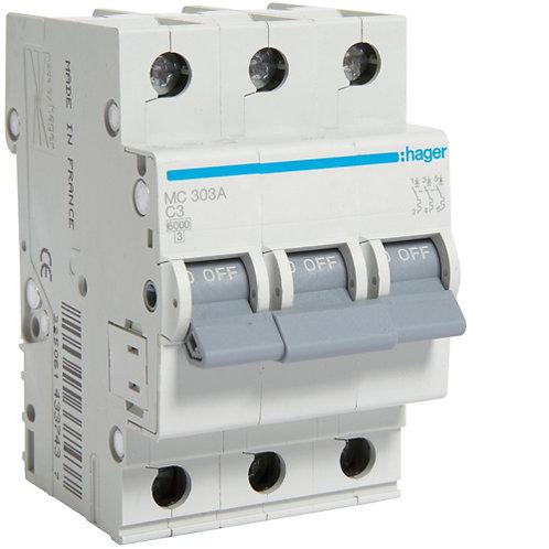 Автоматичний вимикач 3P 6kA C-3A 3M