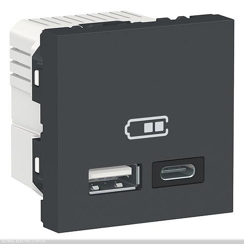 NU301854 Подвійна USB розетка A+C антрацит