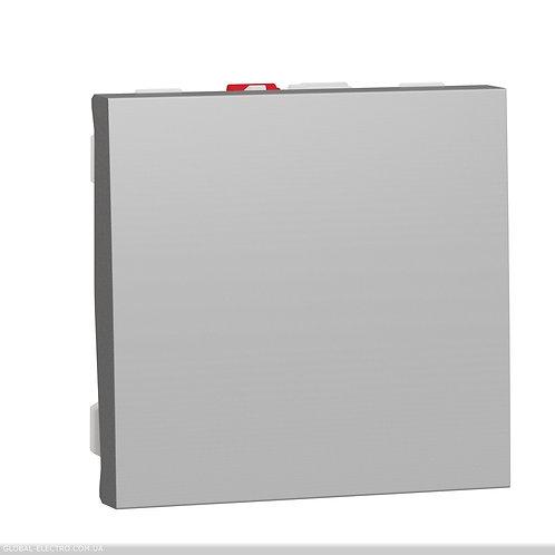 NU320130 Вимикач 1-клавішний схема 1, 10А 2 модуля алюміній