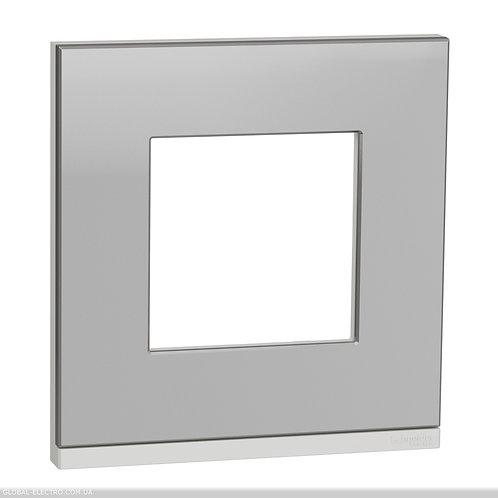 NU600280 Рамка 1-постова, горизонтальна, алюміній матовий/білий