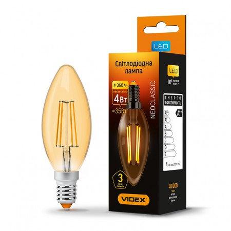 LED лампа VIDEX Filament C37FA 4W E14 2200K 220V VL-C37FA-04142