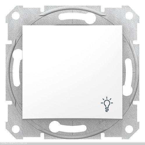 """SDN0900121 Кнопочный выключатель с символом """"СВЕТ"""" SEDNA БЕЛЫЙ"""
