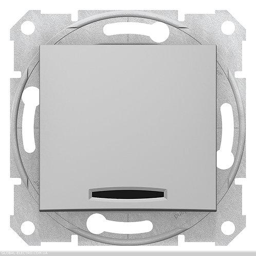SDN0201160 2-х полюсный Одноклавишный ВЫКЛЮЧАТЕЛЬ с индикацией SEDNA АЛЮМИНИЙ