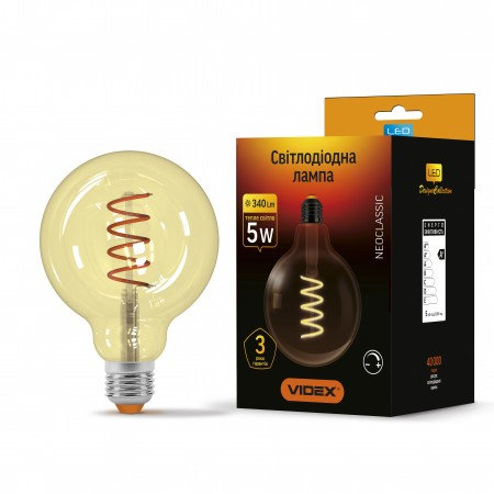 LED лампа VIDEX Filament G125FASD 5W E27 2200K 220V диммерная VL-G125FASD-05272
