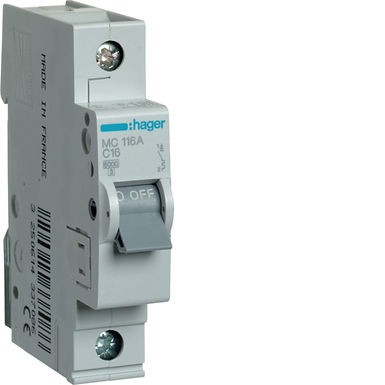 Автоматичний вимикач 1P 6kA C-16A 1M