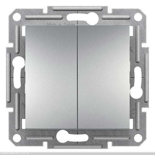 EPH1100161 Двухклавишный ВЫКЛЮЧАТЕЛЬ кнопочный, самозажимные, ASFORA АЛЮМИНИЙ