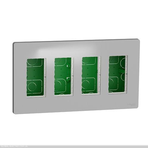 NU174430 Блок unica system+ прихована вставка 4х2 алюміній