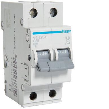 Автоматичний вимикач 2P 6kA C-25A 2M