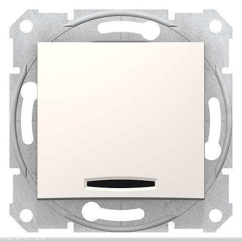 SDN0201123 2-х полюсный 1-клавишный выкл с индикацией SEDNA слоновой кости
