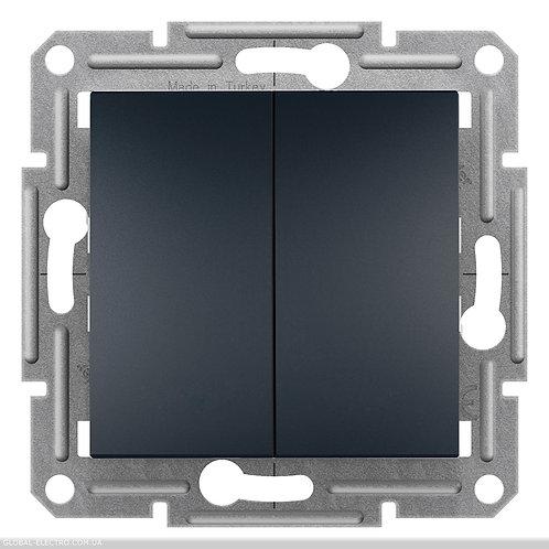 EPH1100171 Двухклавишный ВЫКЛЮЧАТЕЛЬ кнопочный, самозажимные, ASFORA АНТАЦИТ