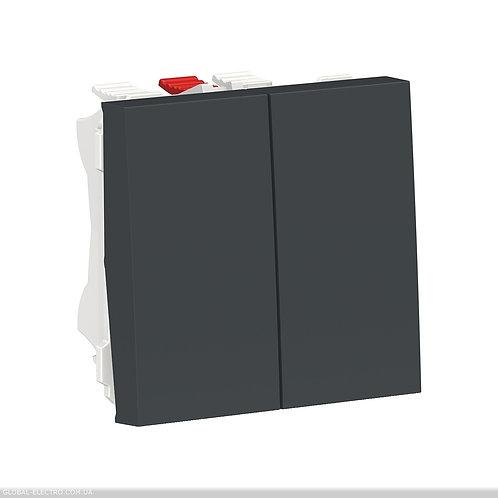NU321354 Перемикач 2-клавішний 2 x схема 6, 10А 2 модуля антрацит