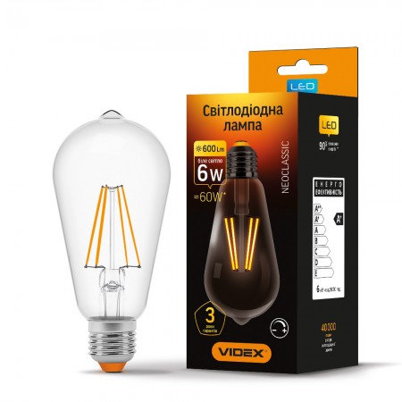 LED лампа VIDEX Filament ST64FD 6W E27 4100K 220V диммерная VL-ST64FD-06274