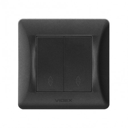 VIDEX BINERA Выключатель 2кл проходной черный графит (VF-BNSW2P-BG) (20/120)